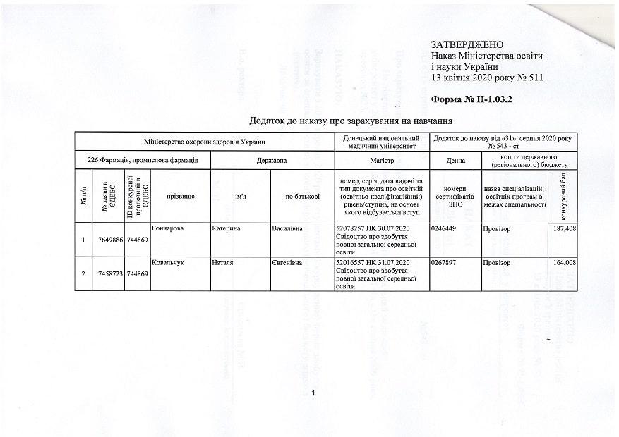 Наказ №543-ст Про зарахування на навчання доннму